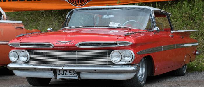Vintage red Chevrolet sedan